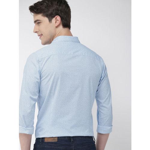 Mast & Harbour Men Blue & White Regular Fit Printed Casual Shirt