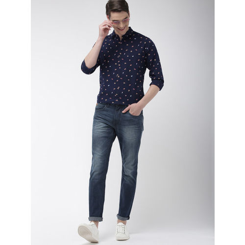 Mast & Harbour Men Navy Blue & Red Regular Fit Printed Casual Shirt
