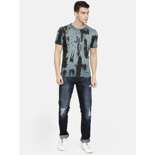 John Players Men Blue Printed Slim Fit Round Neck T-shirt