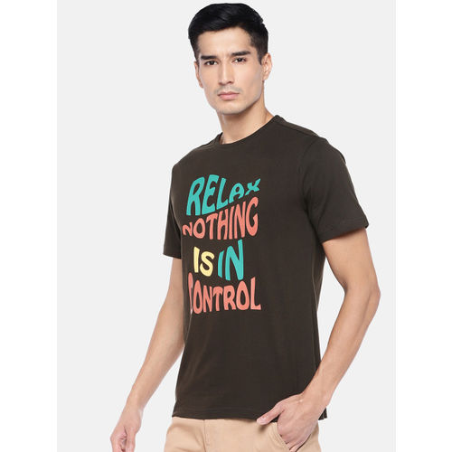 Cottonworld Men Brown Printed Round Neck T-shirt