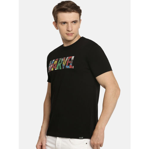 Lee Men Black Printed Marvel Slim Fit Round Neck T-shirt