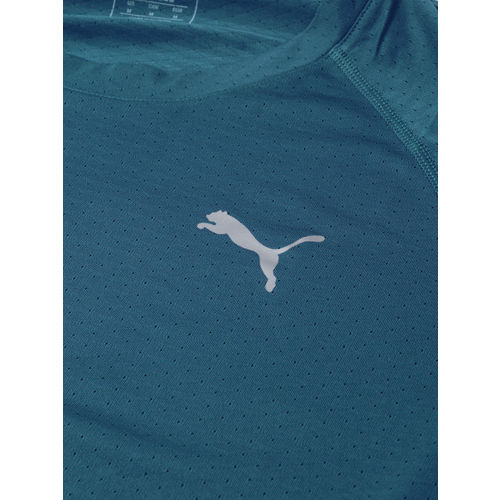 Puma Men Teal Blue Self Design PUMA SS Tech Training Drycell Round Neck T-shirt