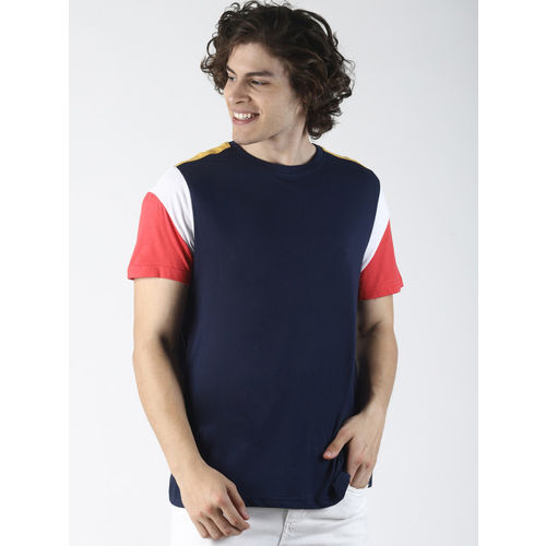 Blue Saint Men Navy Blue Solid Round Neck T-shirt