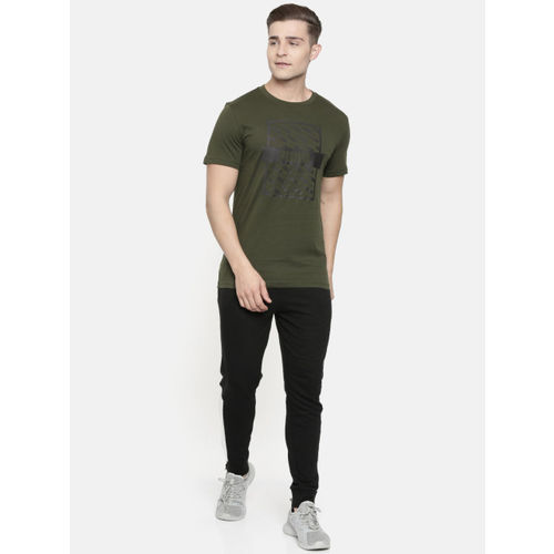 Puma Men Olive Green Printed Slim Fit Optical Tee Round Neck T-shirt