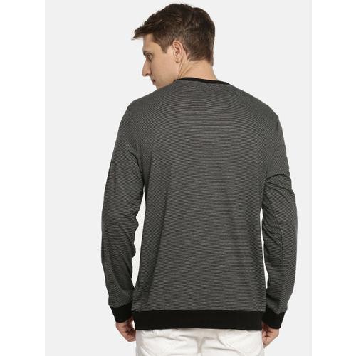 Calvin Klein Jeans Men Charcoal Grey & Black Striped Round Neck T-shirt