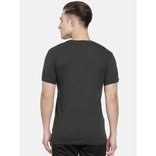 Puma Men Charcoal Grey Slim Fit Printed Optical Round Neck T-shirt