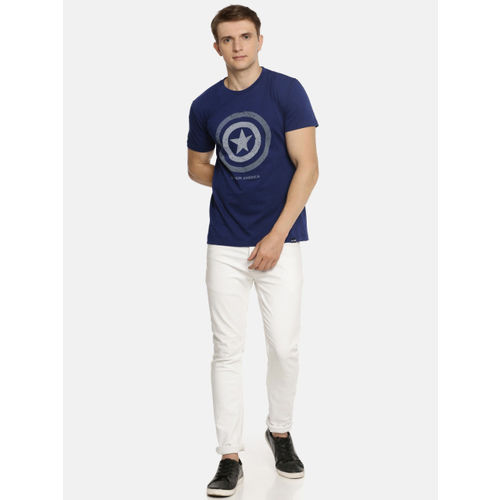 Lee Men Blue Printed Captain America Slim Fit Round Neck T-shirt
