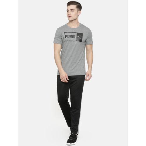 Puma Men Grey Melange Slim Fit Printed Logo Split Round Neck T-shirt