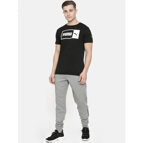 Puma Men Black Printed Logo Split Round Neck T-shirt