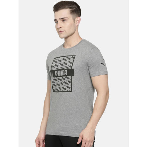 Puma Men Grey Melange Printed Slim Fit Optical Round Neck T-shirt