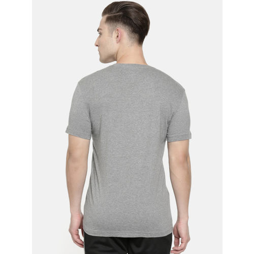 Puma Men Grey Melange Printed Slim Fit Optical Round Neck T-shirt