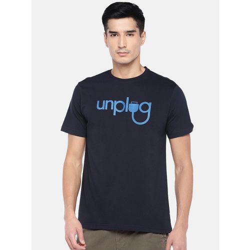 Cottonworld Men Navy Blue Printed Round Neck T-shirt