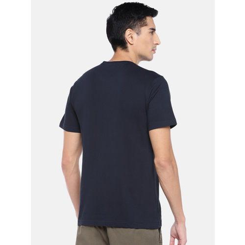 Cottonworld Men Navy Blue Printed Round Neck T-shirt