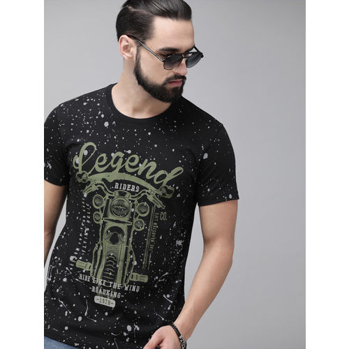 Roadster Men Black Printed Round Neck T-shirt