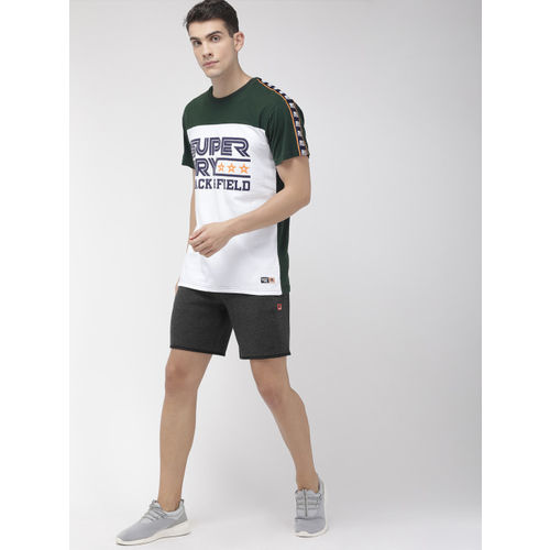 Superdry Men White & Green Printed Triple Star Tapped Over-Sized Fit Round Neck T-shirt