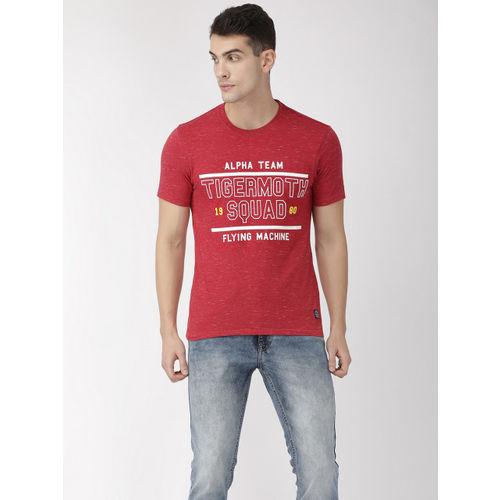 Flying Machine Men Red & White Printed Round Neck T-shirt