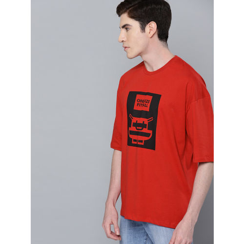 Minions by Kook N Keech Men Red & Black Printed Round Neck T-shirt