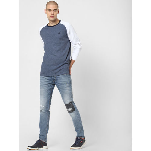 Jack & Jones Men Blue Solid Round Neck T-shirt