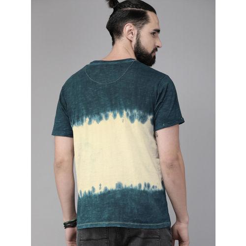 Roadster Men Teal Blue Dyed Round Neck T-shirt