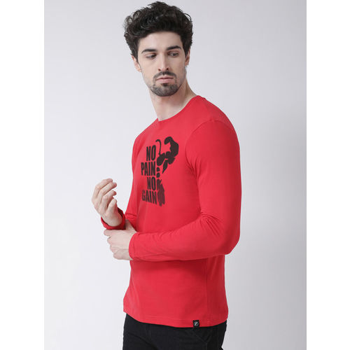 Friskers Men Red Printed Round Neck T-shirt