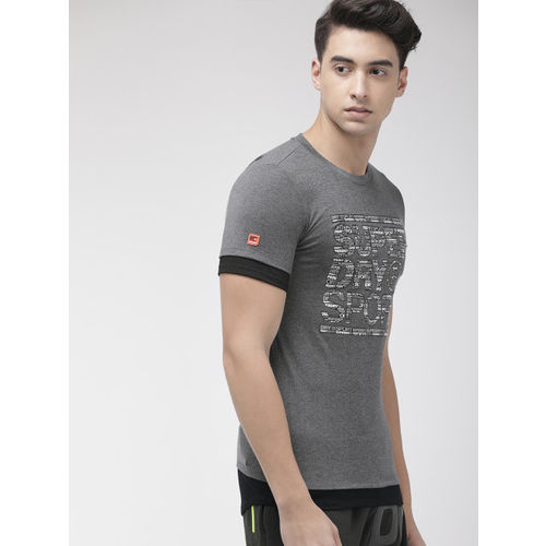 Superdry Sport Men Charcoal Grey GYM TECH LONGLINE Active Fit Printed Round Neck T-shirt