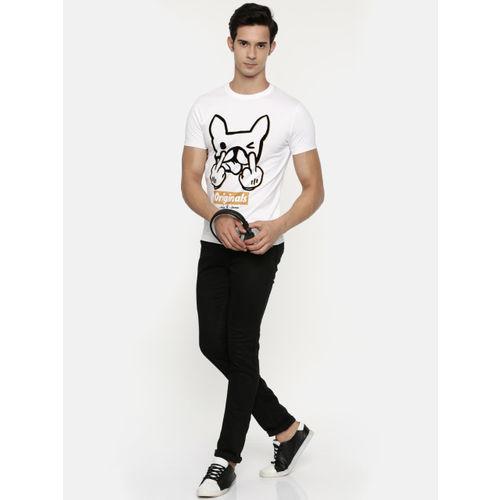 Jack & Jones Men White Printed Round Neck T-shirt
