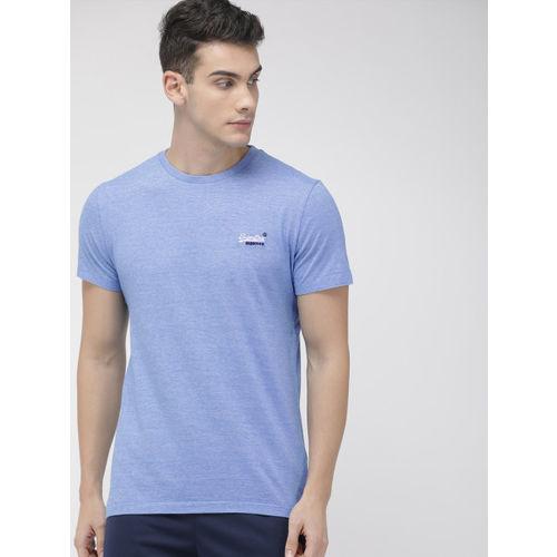 Superdry Men Blue Solid Round Neck Vintage T-shirt