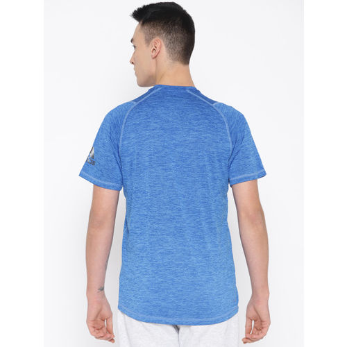 ADIDAS Men Blue Self-Design Freelift 360 X Gradient Graphic Training T-shirt