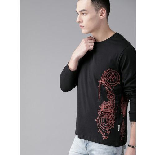 Roadster Men Black Printed Round Neck T-shirt
