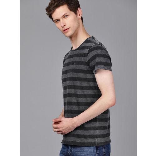 WROGN Men Charcoal Grey & Black Striped Slim Fit Round Neck T-shirt