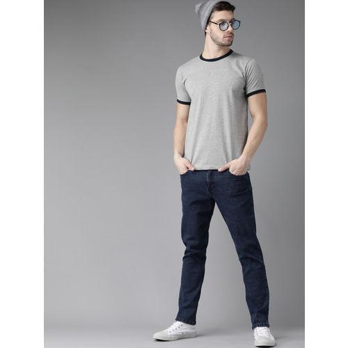Roadster Men Grey Melange Solid Round Neck T-shirt