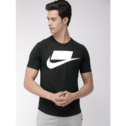 Nike Men Black & White Printed AS M NSW SS Round Neck T-shirt