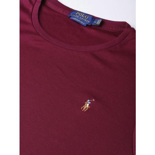 Polo Ralph Lauren Men Maroon Custom Slim Fit Solid Round Neck T-shirt