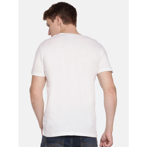 Jack & Jones Men White Printed Round Slim Fit Neck T-shirt