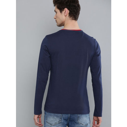 Harvard Men Navy Blue Solid Round Neck T-shirt