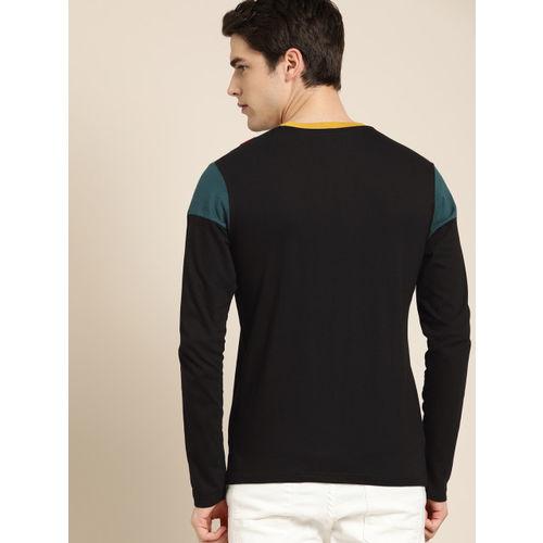 Moda Rapido Men Black Printed Round Neck T-shirt