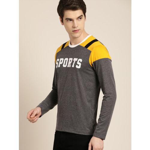 Moda Rapido Men Charcoal Grey Printed Round Neck T-shirt
