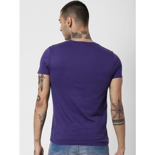 Jack & Jones Men Purple Printed Round Neck T-shirt