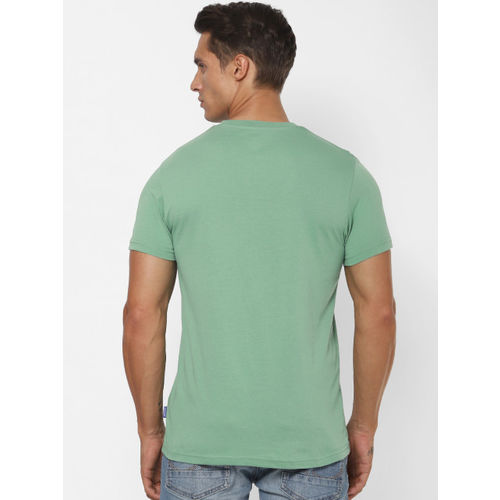 Jack & Jones Men Sea Green Printed Round Neck T-shirt