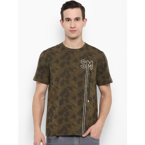 SWISS MILITARY Men Olive Green Camouflage Printed Round Neck Slim Fit T-shirt