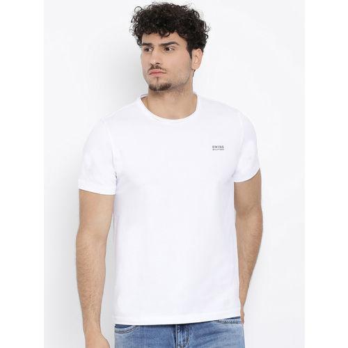 SWISS MILITARY Men White Solid Round Neck T-shirt