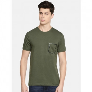 Being Human Men Olive Green Solid Round Neck T-shirt
