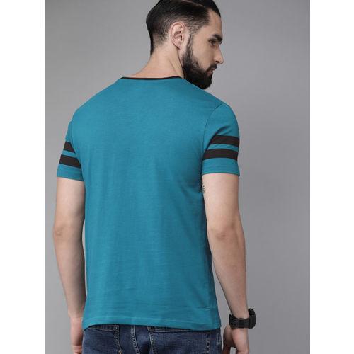 Roadster Men Blue Printed Round Neck T-shirt