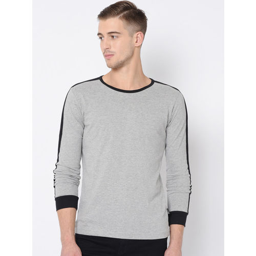 Rigo Men Grey & Black Solid Round Neck T-shirt