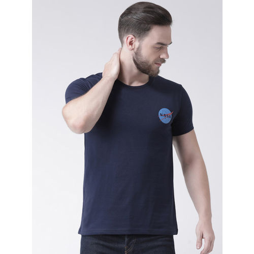 GRIFFEL Men Pack Of 2 Navy Blue & White Printed Round Neck T-shirt