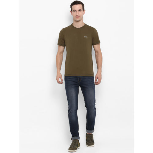 SWISS MILITARY Men Olive Green Solid Round Neck Slim Fit T-shirt