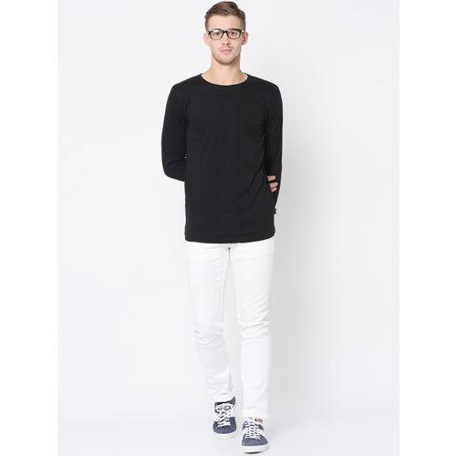 Rigo Men Black Solid Round Neck T-shirt