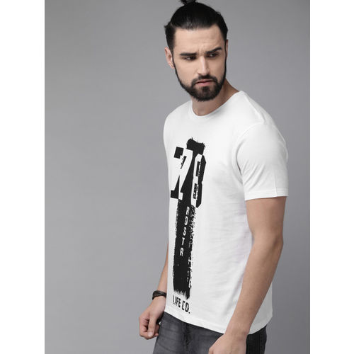 Roadster Men White Printed Round Neck T-shirt