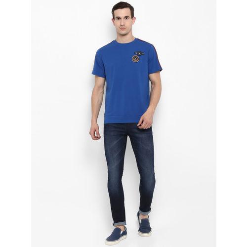 SWISS MILITARY Men Blue Self Design Round Neck Slim Fit T-shirt