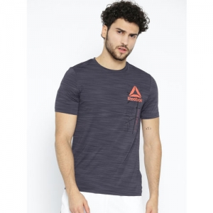 Reebok Men Navy Blue Workout Ready Activchill Graphic Printed T-Shirt
